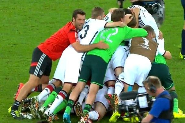 Сборная Германии победитель Чемпионата Мира — 2014!  Сборная Германии 1-0 Сборная Аргентины  Гол: Марио Гётце, 114'.