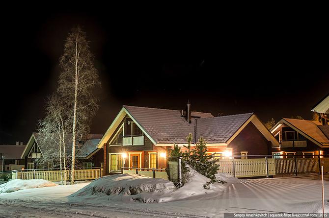 Ночной Тахко, Финляндия. Март 2015 как выглядит идеальная деревня