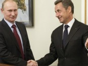 Russia's President Putin welcomes former French president Sarkozy at the Novo-Ogaryovo state residence outside Moscow