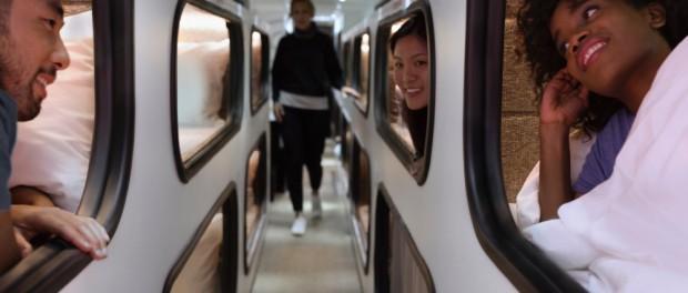 Дизайн автобусов Luxe Bus включают в себя кровати