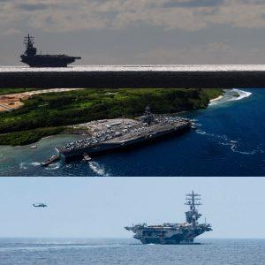 три авианосца США