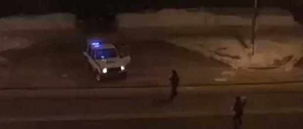 ДПС снежками расстреляли угнанную машину