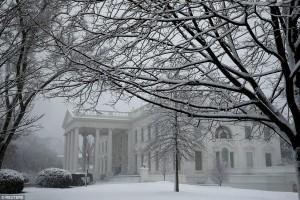 В США снег