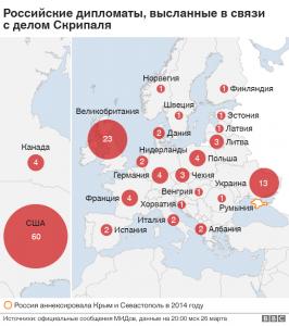 Карта высылки российских диломатов