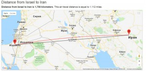 Карта местности Иран Израиль