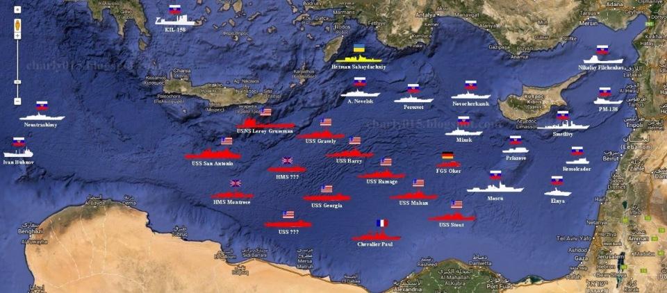 Схема кораблей возле Сирии