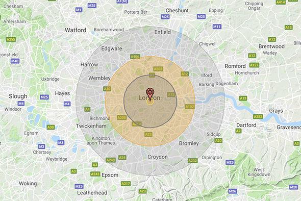 Карта ядерных ударов по Лондону