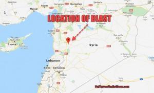 Приблизительное место взрыва послу удара Израиля в Сирии