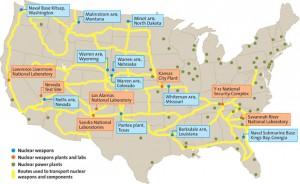 федеральные трассы, по которым Пентагон перевозит свои ядерные компоненты.