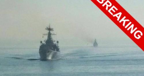 Два русских боевых плывут корабля в Сирии