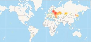 В России начались перебои с YouTube карта