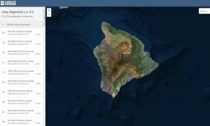 карте землетрясений за позапрошлые сутки Гавайи
