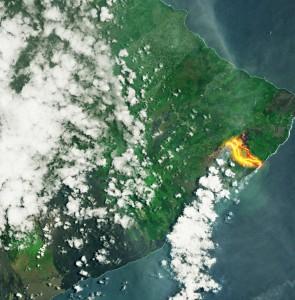 Вулканы на Гавайях  фото сверху