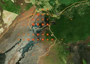 карта подрыва вулканов на Гавайях