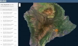 карта землетрясении Гавайи