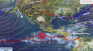 карта предупреждения погоды над Мексикой