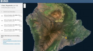 карта серия относительно сильных землетрясений магнитудой до 6.0 баллов,  5.5  Гавайи