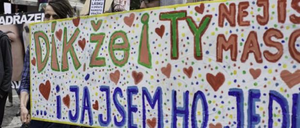 Пражские вегетарианцы подрались с пацифистами на марше против насилия