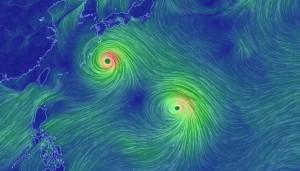 Тайфуны которые надвигаются в сторону Японии