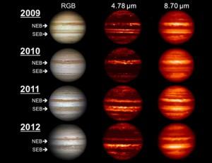 атмосфера Юпитера всего за три года