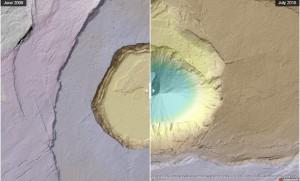 динамика разрушения кратера