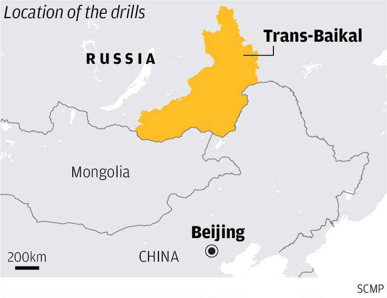 представлена карта,показывающая расположение российских военных округов