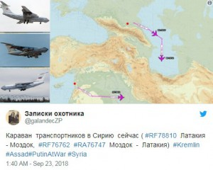 Караван транспортников летящих в Сирию из Моздока