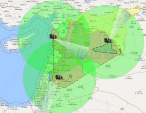 Защищаемые территории с-300 в Сирии