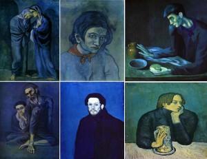 картины Павла Пикасо синим цветом