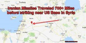 карта нанесения ракетного удара по американской базе в Сирии