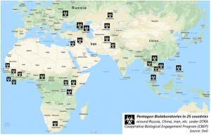 карта основных исследовательских биологических  центров США
