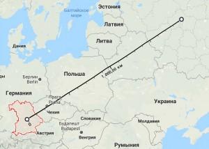 расстояние от Латвии до Москвы карта