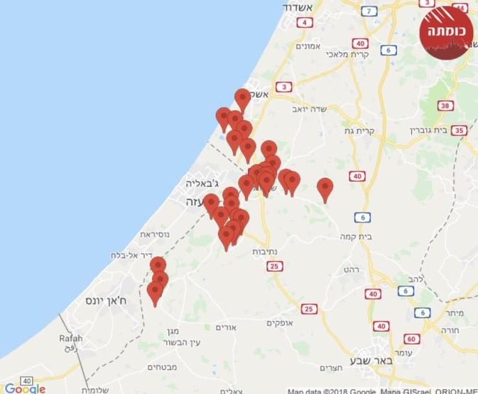 Зона поражения Израиль