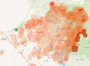 Карта пожаров в Калифорнии