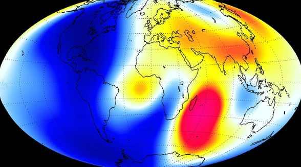 Карта отражающая скорость изменения магнитного поля Земли