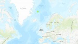 Эпицентр землетрясения в Исландии