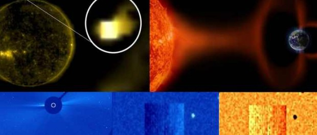 Космический корабль возле солнца готовит атаку на Землю
