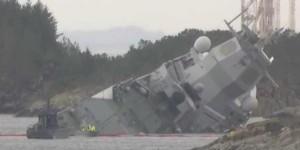 норвежские моряки умудрились утопить свой новейший фрегат Helge Ingstad