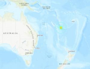 в районе Новой Каледонии произошло землетрясение магнитудой 7.5 баллов