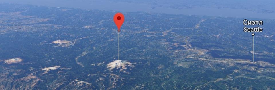 гора Рейнир над уровнем моря карта