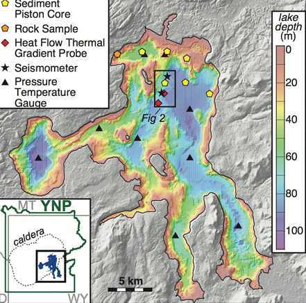 Карта магмы Йеллоустоун
