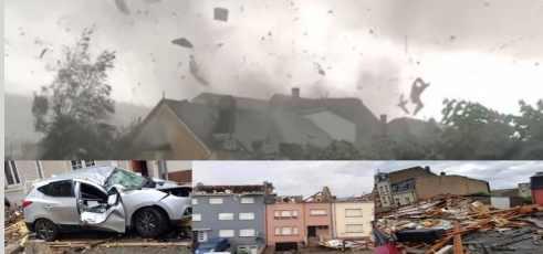 Жуткий торнадо в центре Европы