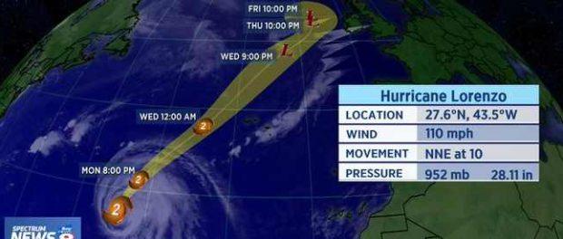 Ураган Лоренцо уничтожит Британию к концу недели