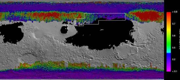 Карта подземного водяного льда на Марсе