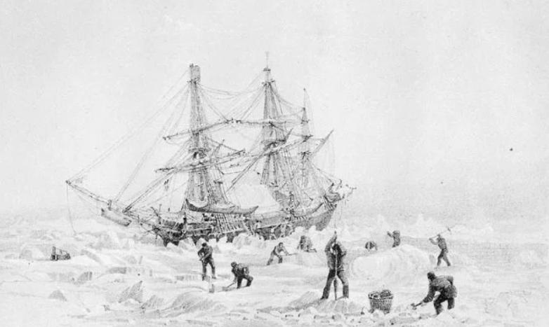HMS террор, брошенный на лед