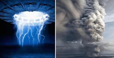 Над извержением вулкан Тааль появился НЛО