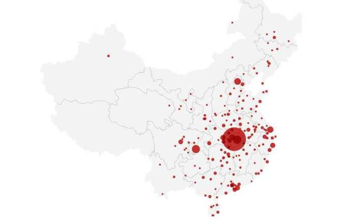 Карта распространения вируса в Китае