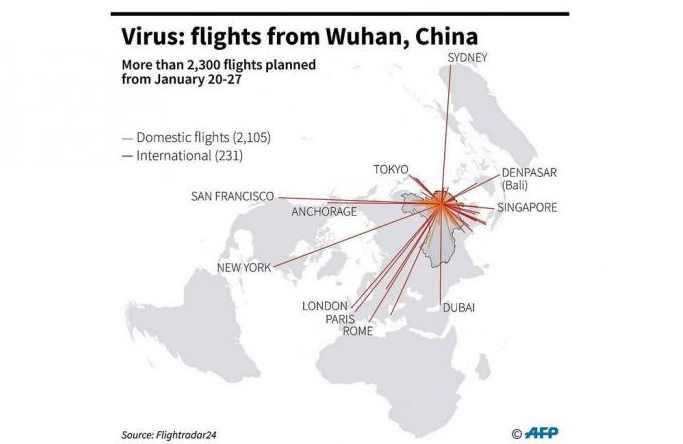 Распространение китайского вируса карта