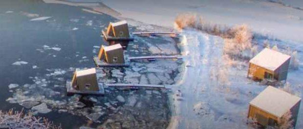 Arctic Bath — роскошный плавучий спа-отель с потрясающим видом на северное сияние