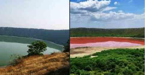 В Индии озеро превратилось в кровь